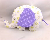 Soft toy elephant plush, beautiful handmade lilac & white cotton soft toy can be personalized. Christmas, new baby gift, made in UK