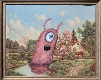 Repainted Thrift Store Art: ORIGINAL Pink Fuzzy Monster In Landscape