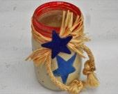Star spangled patriotic painted and embellished mason jar