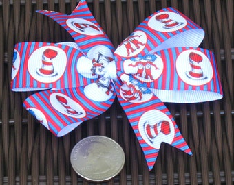 Dr. Seuss Themed Hair Bow in 4 Versions - Dr. Seuss Party/Dr. Seuss Party Favors - Dr. Seuss Accessories - Dr. Seuss Hairbows - BowBravo