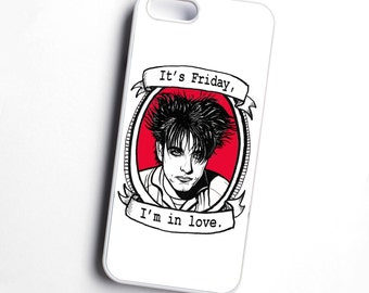 The Cure, Robert Smith, 'It's Friday, I'm in love', illustrated phone case - RED - various models available