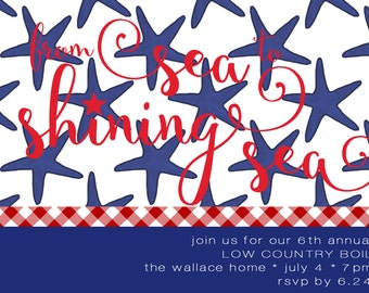Starfish July 4th Patriotic Invitation with Envelopes, Digital Download JPG, and Note Cards
