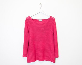 on sale - bright pink see-through slouchy knit / fuchsia boat neck mesh sweater / size L / XL