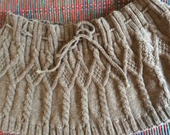 Handknit 100% Wool Cable Capelet