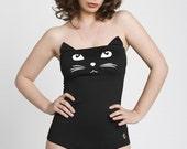 black one piece swimsuit - onepiece swimsuit - strapless swimsuit - cat one piece swimsuit - strapless bathing suit - retro bathing suit