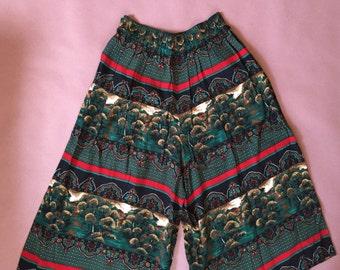 wide leg culottes / palazzo pants / landscape print SM