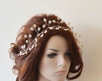 Bridal Pearl Hair Vine, Wedding Pearl Hair Vine, Hair Accessories, Bridal Headband, Pearl  Headpiece