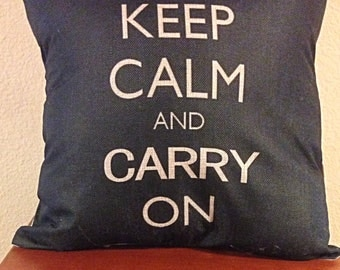 Keep Calm & Carry On decorative pillow