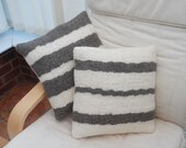 Hand woven, felted cushion, grey and white wool (cushion pad included)