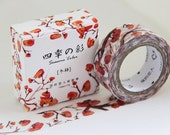 NEW Washi Tape-Orange Winter Persimmon-1 Roll 7m x 15mm.Masking Tape. Adhesive-DIY. Gift wrapping. Tag Making. Scrapbooking.Patterned Tape