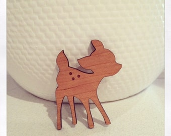 Laser Cut Wooden Fawn Bambi Deer Brooch