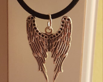 Beautiful Handmade Black Velvet Double Wings Necklace Angel Wing Necklace