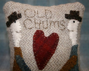 Hand Made Old Chums Pincushion - Customized with two names of your choice