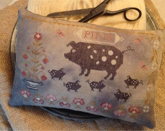 Primitive Cross Stitch Pattern - Spotted Pigs Pinkeep - Pattern Only or Pattern w/Floss Kit