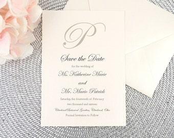 Save the Date, Card, Invitation, Wedding Announcement, Ivory, Cream, Sand, Taupe, Grey, Calligraphy, Script, Elegant, KATHERINE Design