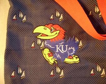 Free personalizing Machine embroidered sailboats and KU Jayhawk