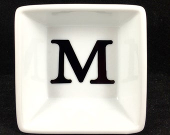 """White personalized jewelry dish; dish with initial; porcelain square dip bowl;bridesmaid gift ; 3"""" square dish;white personalized ring dish."""