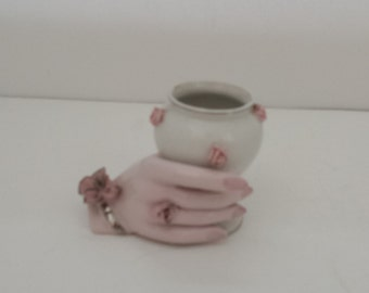 Hand Vase with Pink Flowers
