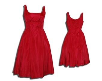 1950s Red Taffeta Fitted bodice full skirt dress w crinoline