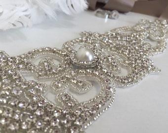 Bridal Belt, Vintage Bridal Sash, Bridal Sash Belt, Swarovski Crystal Bridal Belt,  1920's Wedding Belt, Beaded Bridal Belt, 1920's bridal