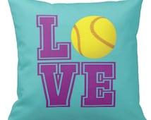 Softball Pillow & Cover, Pool, Purple LOVE, Yellow Ball - ANY COLORS, Girl's Custom Throw Pillow, 14x14, 16x16, 18x18, 20x20, 14x20, 26x26