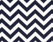Navy and White Chevron ZigZag - One Yard - Premier Prints Fabric - Navy Blue and White Home Dec Fabric
