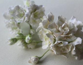 Hair bobby pin flowers. White azalea. Set of 6.