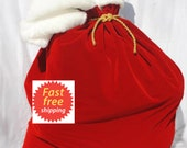 Santa Sack - FREE SHIPPING - Red Velvet - Can be personalized