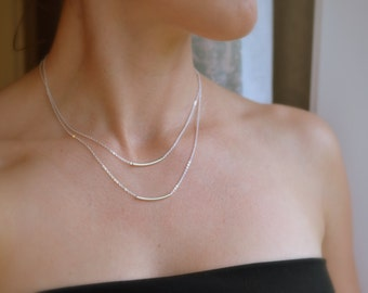 Double Bar Necklace, Layered Necklace Set, Double Layer Necklace, Layered Bar Necklace, Floating Bar, Two Strand Necklace