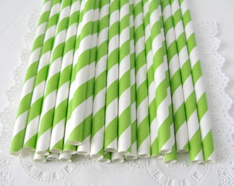 Lime Green Stripe Paper Straws 25 Count |  Lime Green Stripe Straws | Bright Green Paper Straws | Bright Green Party Straws