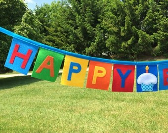 Cupcake Felt Birthday Banner-Cupcake Banner-Felt Birthday Banner- Happy Birthday Banner-Fabric Birthday Banner-Birthday Decoration Banner
