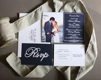 Wedding Reception invitation, We tied the Knot! Nautical, Ocean, Beach Elopement Announcement + RSVP card