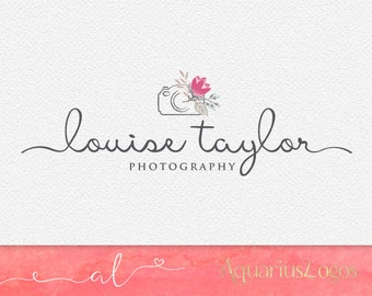 Photography logo - premade logo design - floral logo - camera logo wedding photography logo Vector and watermark files included