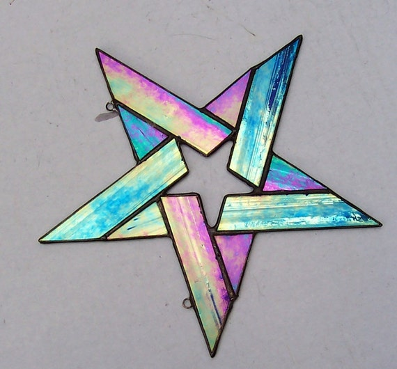 Stained Glass 5 Point Star, Star Within A Star, Iridescent Art Glass Star, Aqua Blue Star