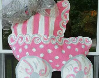 Baby carriage 2ft burlap door hanger