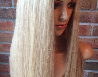 EXTRA THICK Stylish human hair bespoke wig size 13 years - Adult.