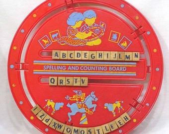 Vintage Spelling and Counting Board Plastic Wheel w Letters Numbers on Wood Blocks