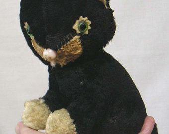 Vintage 1950s Black Stuffed Cat Toy Mohair Glass Eyes Nose Felt