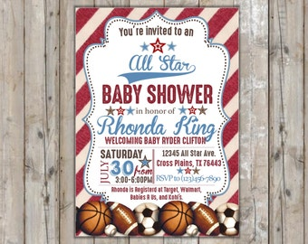 All Star Baby Shower Invitation /Sports Baby Shower/Vintage Sports Baby  Shower/