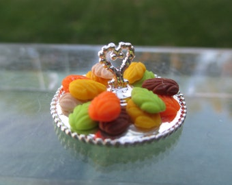 Dollhouse Miniatures -  Silver Colored Platter with Fall Leaf Cookies - Delicious Dessert