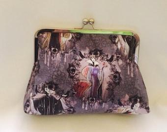 Disney villainess handmade clutch, make-up bag, handmade bag, evening bag, vintage bag, rockabilly purse, gift for her, evening bag