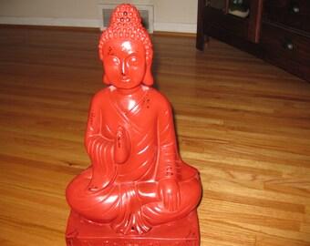 "LARGE BUDDAH STATUE 20"" Tall Red Statue Fiberglass Base Ceramic Body Base 8"" x 10"" x 3 1/2"""