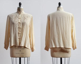 Three Leaf Blouse / 1950s silk blouse / vintage creme lace blouse