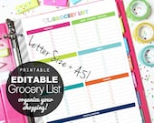 EDITABLE Grocery List, Printable Planner, Letter Size + A5 - INSTANT DOWNLOAD - Shopping, Categories, Planning