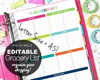 EDITABLE Grocery List, Printable Planner, Letter Size + A5   INSTANT  DOWNLOAD   Shopping
