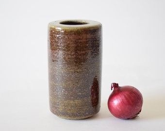 PALSHUS Denmark - cylindrical vase - iron glaze - brown red beige - PL-S 464 - Danish mid century pottery