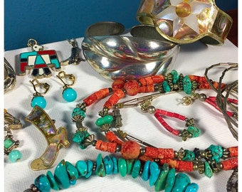 Huge Lot of Southwest Style Jewelry, Vintage and newer Southwest, Native, Silver and Turquoise Jewelry