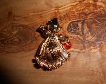 Vintage Avon Halloween Witch Pumpkin Pin Brooch