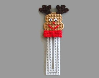 Needlepoint Reindeer Bookmark // Christmas Bookmark // Plastic Canvas // Bookmarks for Kids // Christmas Gift // Holiday Bookmark