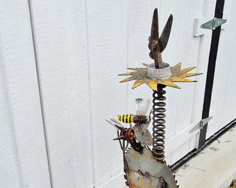 really tall Spring Chicken Garden Totem welded garden art